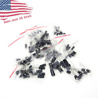 120pcs 12 Values 1uF-470uF Electrolytic Capacitors Assortment Kit US