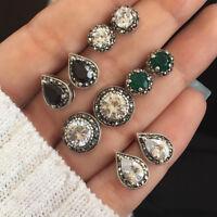 Novelty Women 5 Pairs/Set Pretty Crystal Stud Earrings Dazzling Cubic Water Drop