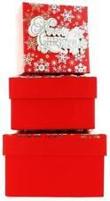 Set di 3 piccoli Natale SQUARE scatole regalo nidificati-moderno Merry Natale Fiocchi di neve
