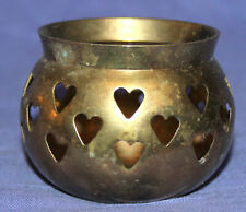 Vintage hand made ornate brass candle holder cup