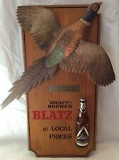 Vintage 1960's Blatz Beer Ring-Necked Pheasant Wood 3D Bar Sign Complete