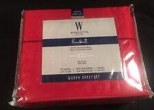 Nautical True RED Wamsutta 500 TC 100% Pimacott Cotton Sateen QUEEN Sheets