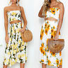 Women Summer Bodycon Two Piece Crop Top and Skirt Set Bandage Dress Midi Party