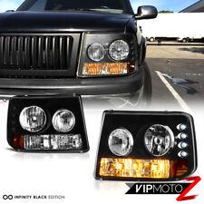 99-02 Chevy Silverado 1500/2500 1PC Black Amber Headlight Left+Right Assembly