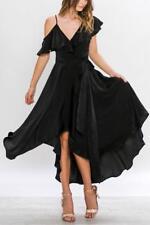 NEW NYE Anthropologie Black SWAN SATIN Ruffle SPANISH COCKTAIL WRAP Midi DRESS S