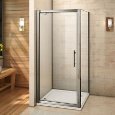 800x700 Shower Enclosure 6mm Glass Pivot Door Side Panel Stone Tray Waste