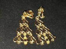 Monet Earrings Clamp Gold Tone Christmas Tree Holiday Vintage Jewelry Clipon