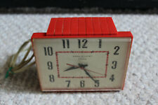Vintage General Electric Telechron Red Clock - Wall or Table - Art Deco #2H103