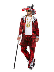 Men's Gangster Pimp Red Big Daddy Fancy Dress Costume Outfit 70s Disco One Size