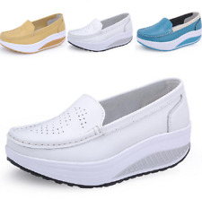 Hollow Platform Loafers Leisure Wedge Low Heel Womens Pump Shoes Slip On Casual