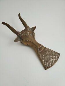 Vintage Solid Brass Boot Jack Puller Cowboy Boots Remover Longhorn Bull Gold