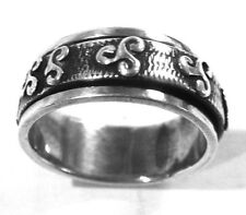 Spinner Aztec Ring Size 8.5 Taxco Mexico .925 Sterling Silver Band