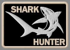 "SHARK HUNTER EMBROIDERED PATCH ~3-5/8""x2-1/2"" BRODÉ MUOKKAA BRODERAD FISHING ROD"