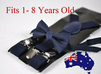 BOYS KIDS NAVY BLUE Braces Elastic Suspenders + Bowtie Bow Tie 1-8 Years Old
