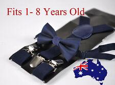 BOYS KIDS NAVY BLUE Braces Elastic Suspenders + Bowtie Bow Tie 1-8 Years Old