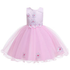 Flower Kids Girls Bridesmaid Mesh Tutu Dress Pageant Princess Party Prom Gown