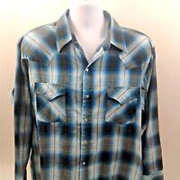 Plains Western Wear Blue/Black Plaid Mens Long Sleeve Shirt w/Pearl Snaps Sz XL