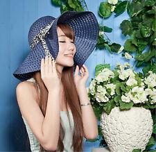 Ladies BowKnot Summer Floppy Hat Wide Large Brim Beach Straw Bohemia Sun Hat