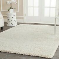 Solid Ivory White Color 8 x 10 Ft Large Size Fluffy Thick Shag Carpet Area Rug