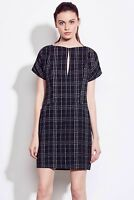 Ali & Jay Day At The Bazaar Shift Dress Small Black Plaid Split Neck Lined