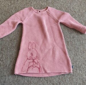 M&S pink knitted Peter Rabbit jumper dress age 12-18 months