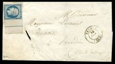 Lot N°8176 FRANCE - N°14Aj avec bord de feuille sur lettre incomplète - RARE