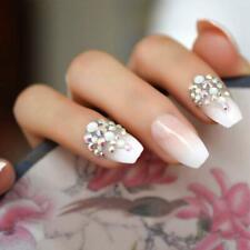 Lange falsche Nägel gebogener rosa Marmor Drücken Sie auf die Nägel Klebestift