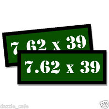 7.62 X 39 Ammo Can Stickers 2x Ammunition Case Labels GREEN Decals 2 pack