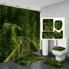 Bamboo Forest Trail Shower Curtain Bath Mat Toilet Cover Rug Bathroom Decor