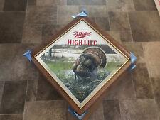 (Vtg) Miller High Life Beer Wildlife Series Diamond Turkey Wood Frame Mirror New