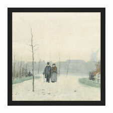 More details for anton mauve old couple in park square framed mountless wall art 16x16 in