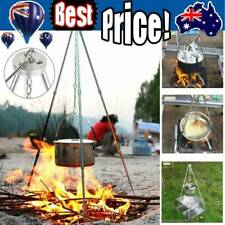 Tripod Camping Outdoor Cooking Campfire Picnic Pot Cast Iron Fire Grill Oven