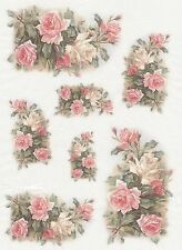 Rice Paper for Decoupage Scrapbook Craft Sheet Vintage Pink Roses