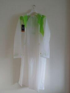 Plastic Regenmantel m.Kapuze weiß milchig Regencape kein Gummi rubber Gr.XL neu!
