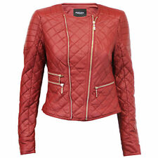 ladies womens leather look PU PVC quilted bomber biker jacket by Brave Soul