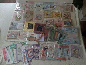 Huge Lot Miniature Cross Stitch, Floss, Fabric And Chart/Tip Books