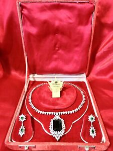 INSPIRED BY QUEEN EMERALD AND DIAMOND JEWELRY SET NECKLACE & EARRINGS S925 GIFT