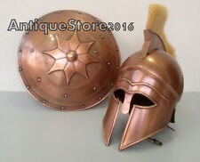 Greek Corinthian Helmet with Plume & Shield Armor Medieval Knight Play Role