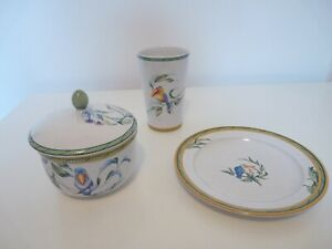 GENUINE HERMES PLATE TRAY CUP  TOUCANS COLLECTION MOUSTIERS POTTERY EARTHENWARE