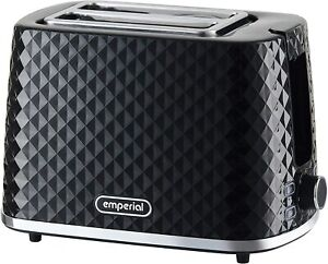 Emperial 2 Slice Toaster Diamond Texture 900W Defrost Removable Crumb Tray