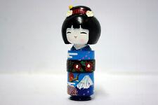 BAMBOLA KOKESHI みやび こけし KIMONO BLUE NEW MADE IN JAPAN 6 CM NUOVA HEART OF JAPAN
