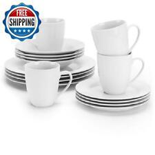 16-Piece Porcelain Dinnerware Set Dinner Plates Dish  Bowls Mugs Dining Kitchen