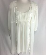Oscar De La Renta Short White Nightgown & Sheer Peignoir Set Size Small Wedding