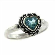 925 Silver Blue Topaz Heart Ring Size 6