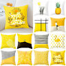 Yellow Polyester Pillow Case Sofa Car Waist Throw Cushion Cover Home Decor USA
