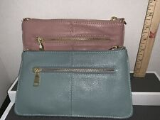 LECXCI Pink And Green LEATHER PEBBLED WRISTLET PURSE Lot