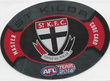 2016 Teamcoach Aus Kick MASTER CODE Card - St. Kilda