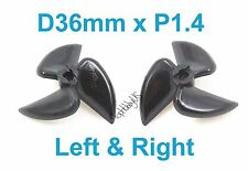 1 Set D36mm 3-Blades Left&Right P1.4 RC Boat Propellers, 4mm Shaft (US SELLER)