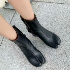 Womens Tabi Split Toe Side Zip Bootie Ankle Boots Chunky Mid Heel Leather Shoes