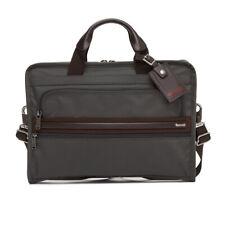 Tumi Ballistic Nylon Leather Trim Slim Deluxe Portfolio Brief 026101 Grey/Brown